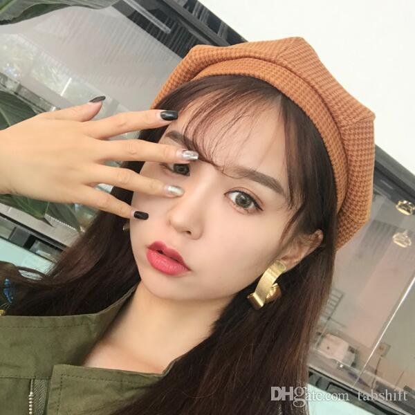 fashion Beret female Japanese fall winter hats edition joker pumpkin bud octagonal hat British painter cap