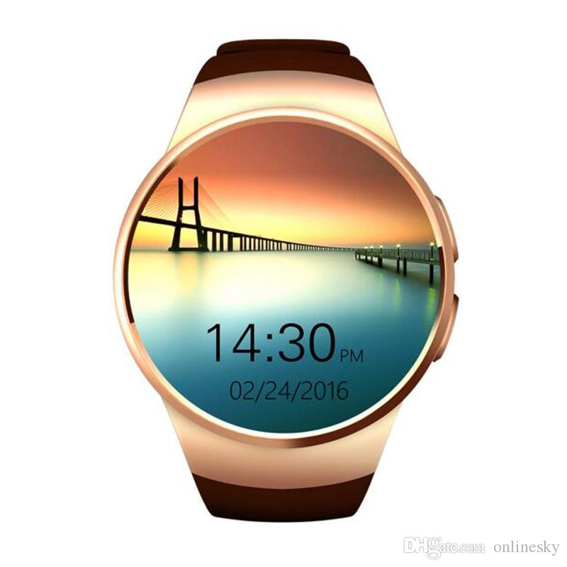 KW18 Bluetooth Smart Watch 1.3 inches IPS Round Touch Screen Water Resistant Smartwatch Phone with SIM Card Slot Sleep Heart Rate Monit