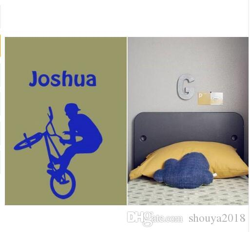 Cool Personalised Name BMX STUNT Removable Wall Sticker for Nursery Kids Bedroom Boys Home Decor Mural -you choose name& color