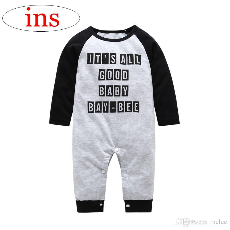 2a9c1b0fd10 2019 IT S ALL GOOD BABY BAY BEE Letter Print Baby Gray Jumpsuits Long  Sleeved Kids Rompers 0 2years Free Ship From Melee