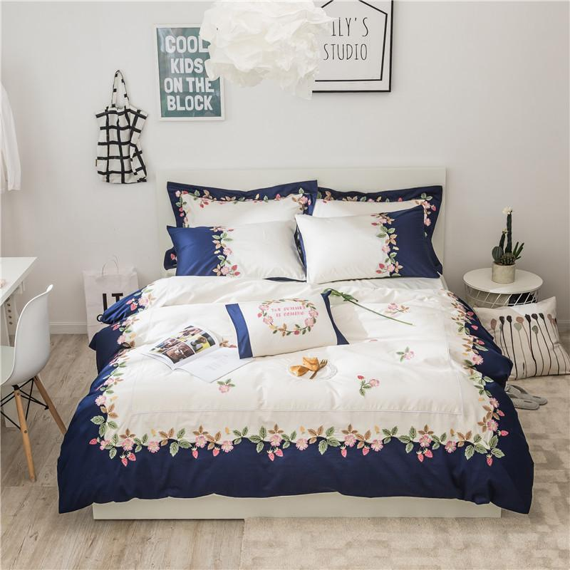 Luxury Korean Princess Bedding Set Egyptian Coon Embroidered Bed Room Set  4 King Queen Size Girls Women Bed Sheet Red And White Duvet Cover Duvet  Covers For ... 475c1a8825