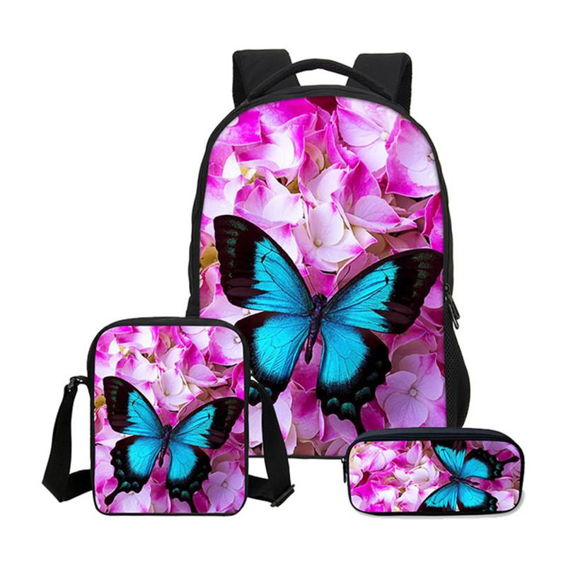 Hynes Eagle Backpacks For Girls Boys Portfolio 3D Butterfly Printing ... 11e2ddd8fee6a