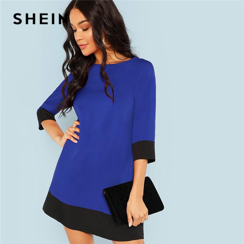 d058b1228bab4 Großhandel SHEIN Blau Ausgehen Kontrast Trim Tunika Dreiviertelansicht  Sleeve Shift Colorblock Kleid Herbst Modern Lady Damen Kleider Von Paluo,  ...