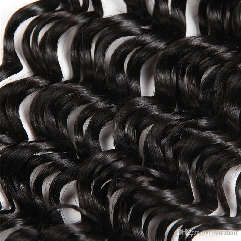Malaysian Lace Closure Deep Wave 4 X 4 Verschluss Schweizer Lace Deep Wave Curly Lace Closure mit dem Babyhaar