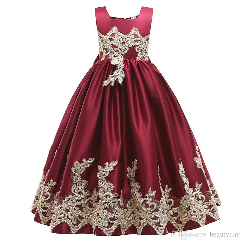 2019 Burgundy Lace Flower Girl Dresses Lovely Clothes With Big Bow Tutu Ball Gowns In Stock Cheap for Age 3~13