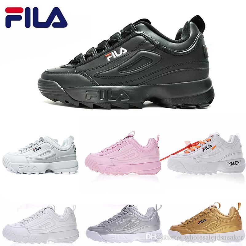 9c767ac9d505e Acheter Top Fila DisruptorII Chaussures De Course Pour Homme Chaussure Femme  Blanc Noir Pas Cher Rose Fashion Designer De Sports De Plein Air Sneakers  ...