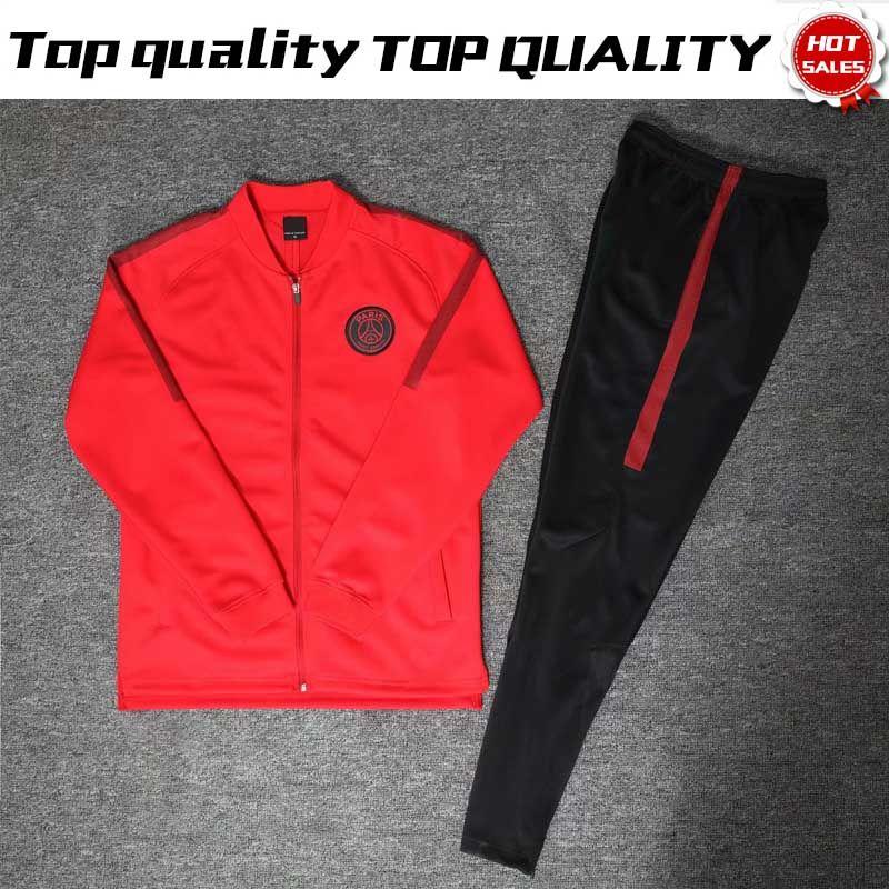 New Logo PSG Red Long Sleeve Jacket Suits With Pants 2019 PSG Red Training  Uniform 18 19 Paris Saint Germain Football Kits Jacket+Pants UK 2019 From  ... 365e7961c08f9