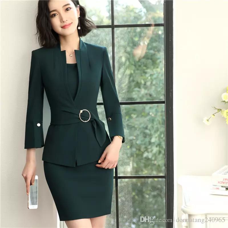 c347e25425 Compre Formal Senhoras Vestido Ternos Para Mulheres Ternos De Negócio Com  Vestido E Blazers Blazers Conjuntos De Desgaste Do Trabalho De Escritório  Uniforme ...