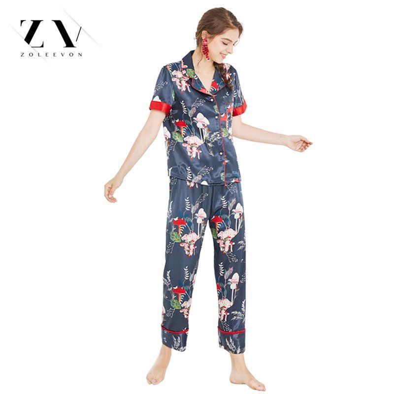 a4eb829fc4308f Seide Pyjamas Damen Navy zweiteilige Hose Pyjama Set Sommer Dessous  Kleidung Satin Anzug kurze Länge pijama feminino