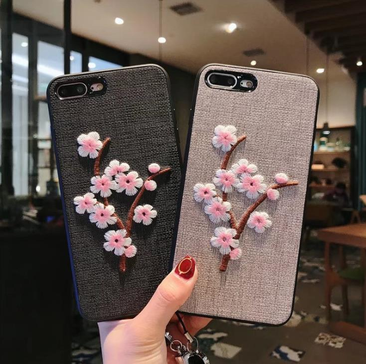 Wholesale For Iphone 8 Plus Case Cover Rose Embroidery Case For