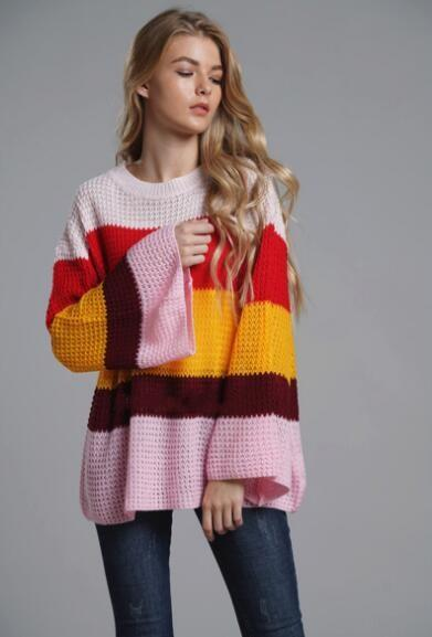 Autumn Fashion New Women Tops Plus-size Loose Knit Blouse Flare Sleeve  Pullover Rainbow Striped Sweater Striped Sweater Striped Tops Knit Blouse  Online with ... 64f1885e6da3
