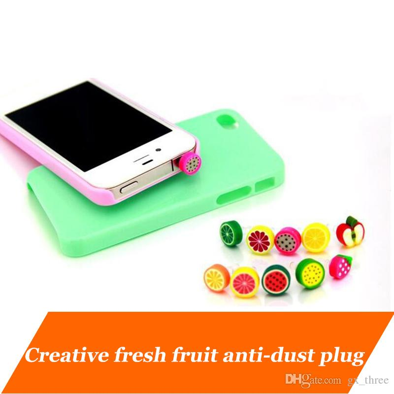 New promotional headphone Plugs Stopper cap Gadgets phone fruit dust-proof plugs 3.5mm Earphone Jack Anti Dust plug for iPhone Samsung