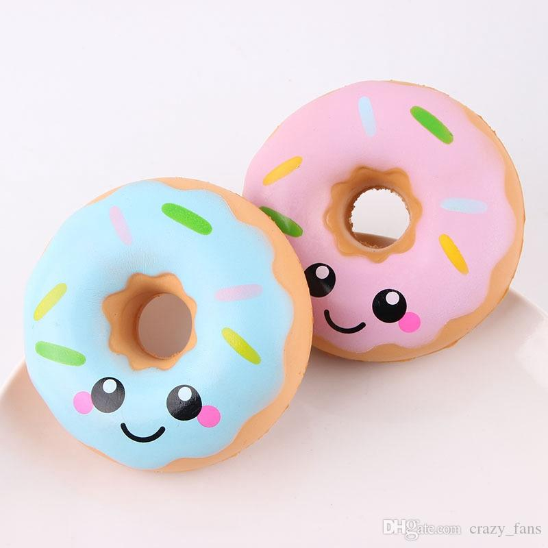 Squishies Slow Rising Squishy Doughnut Cream Scented Jumbo Food Bread Cake Kids Toy Pink Blue Stress Relief Decompression Toys STS203