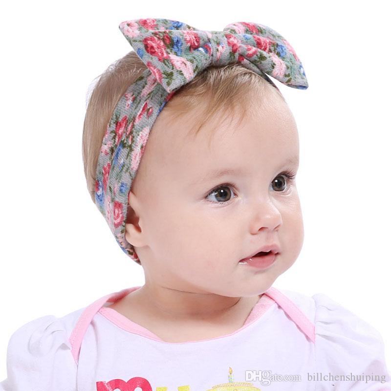 Hot Sale Baby Bow Headband Girls Bohemian Bunny Hairband 19 8CM Flower  Printed Kids Mixed Color Hair Accessories Fashion Hair Accessories Japanese  Hair ... ee356a513bdd