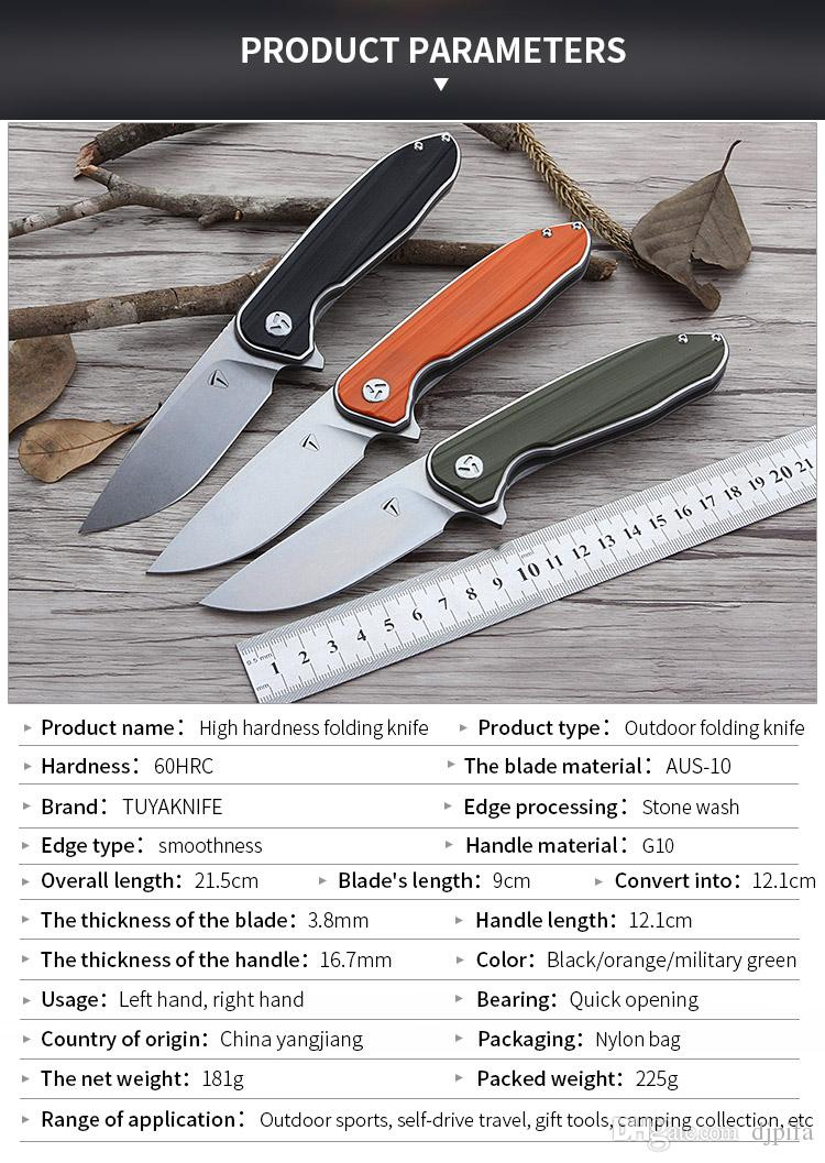 K8088 Stone Wash AUS-10 Blade Pocket Knife With Gray Color G10 Handle Survival Folding Knife With Nylon bag Camping Tools OEM For Gift