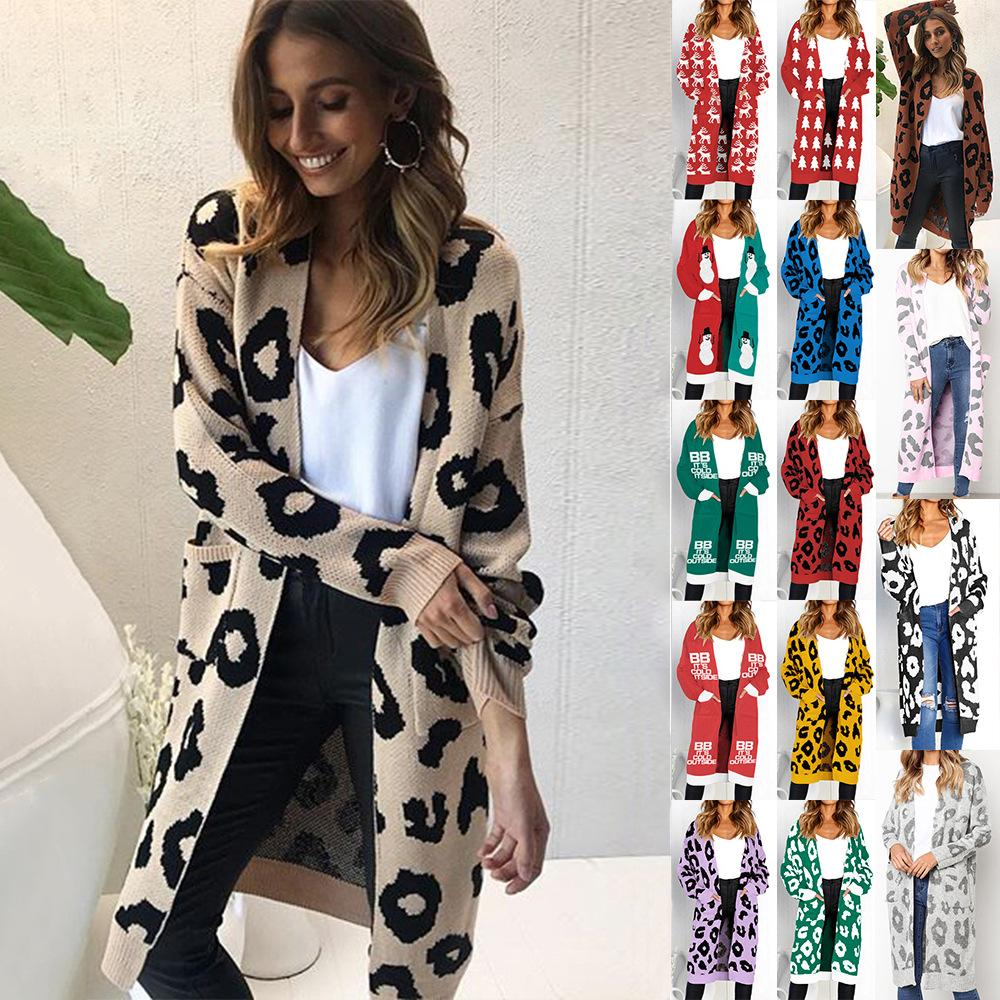 21629809488260 2019 IMucci Women S Boho Long Sleeve Knitting Sweaters Leopard Print Open  Front Chunky Warm Cardigans Pointelle Pullover Cozy Sweater From Qutecloth