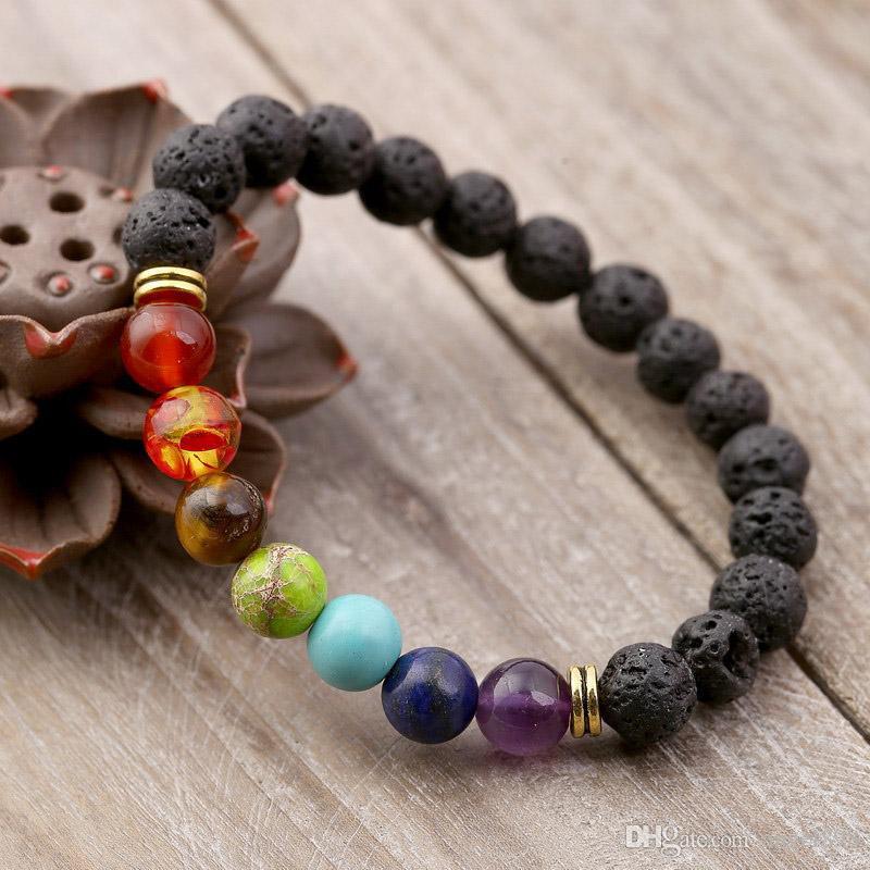 Black Lava вулканический камень 7 чакра браслет, натуральный камень йога браслет, исцеление руки молитвенный баланс бусин бусины браслет