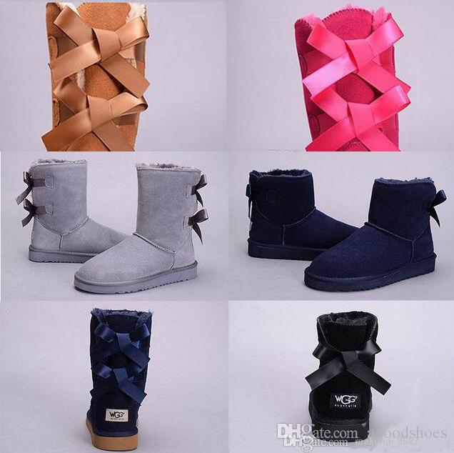 cc241340b 2018 Winter Australia Classic Snow Boots High Quality Wgg Tall Boots Real  Leather Bailey Bowknot Women S Bailey Bow Knee Boots Shoes Shoes For Sale  Cheap ...