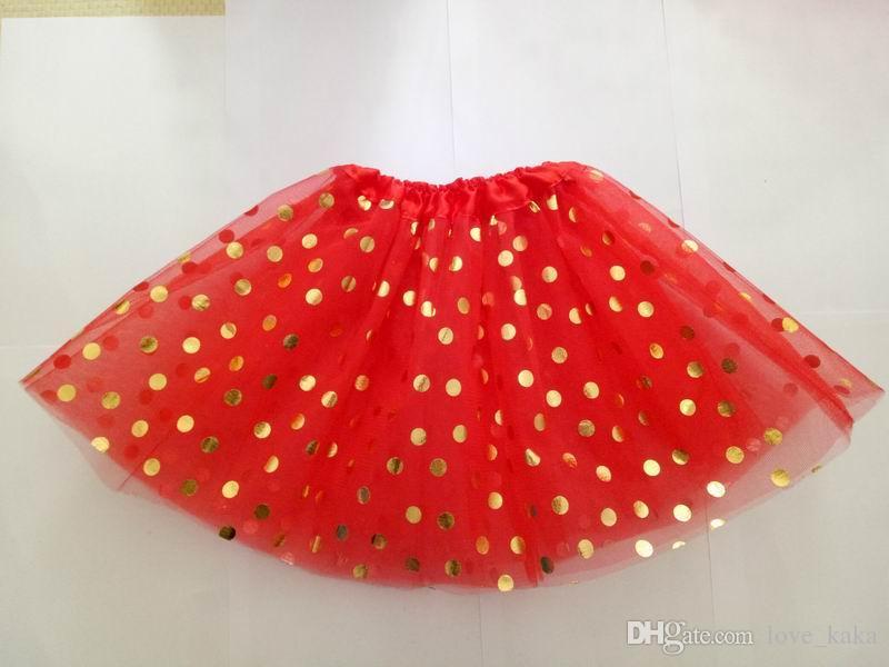 DHL 무료 골드 폴카 도트 소녀 투투 스커트 크리스마스 tutus 아이 투투 스커트 아기 유아 스커트 빨간색 유아 pettiskirt 신생아 사진 소품