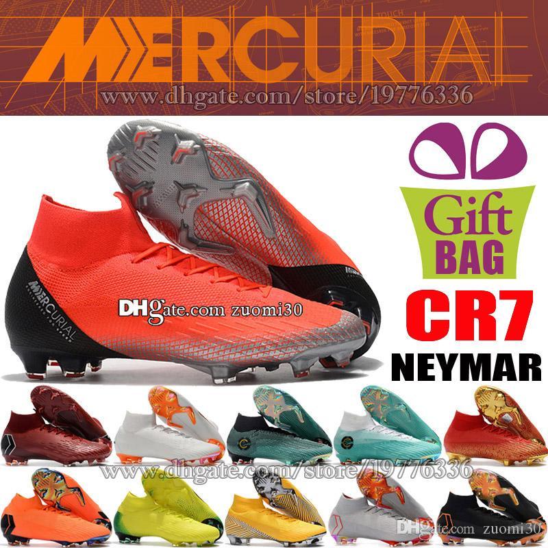 fc595178e3 Compre Mens Mercurial Superfly VI FG CR7 Botas De Futebol Cristiano Ronaldo  CR7 Sapatos De Futebol Ao Ar Livre Neymar ACC Meias Alta Tornozelo  Chuteiras De ...