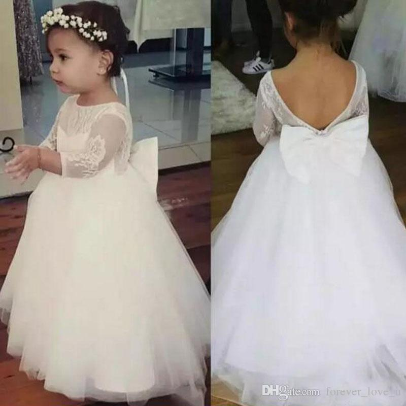 7c819afddcb Cute Lace Tulle Flower Girl Dress Sheer Neck Backless Illusion Sleeves Flowergirl  Dresses For Weddings With Bow First Communion Gown Toddler Flower Girl ...