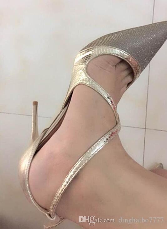 2018 New Luxury Designer Chaussures Femmes Sexy Croix-égalité en cuir véritable mince rouge Bas talons hauts orteils pompes femmes pointes 33-44