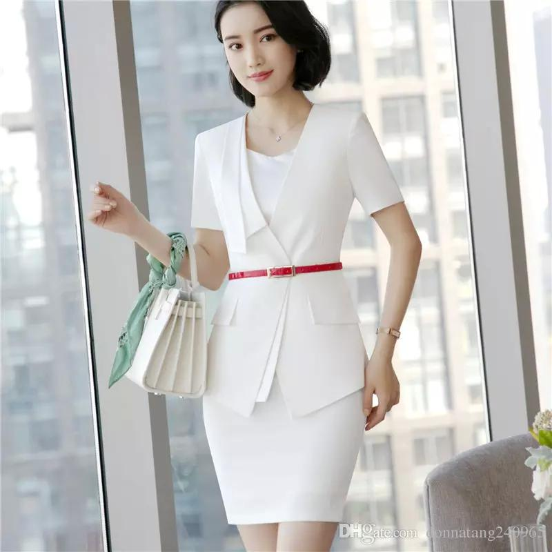 Women's Clothing High Quality Blazer Women New Summer Formal Fashion V Neck Short Sleeve Jackets Office Ladies Plus Size Work Wear Convenient To Cook Suits & Sets
