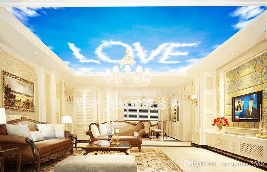 Acheter Personnalise 3d Peintures Murales Plafond Papier Peint Ciel