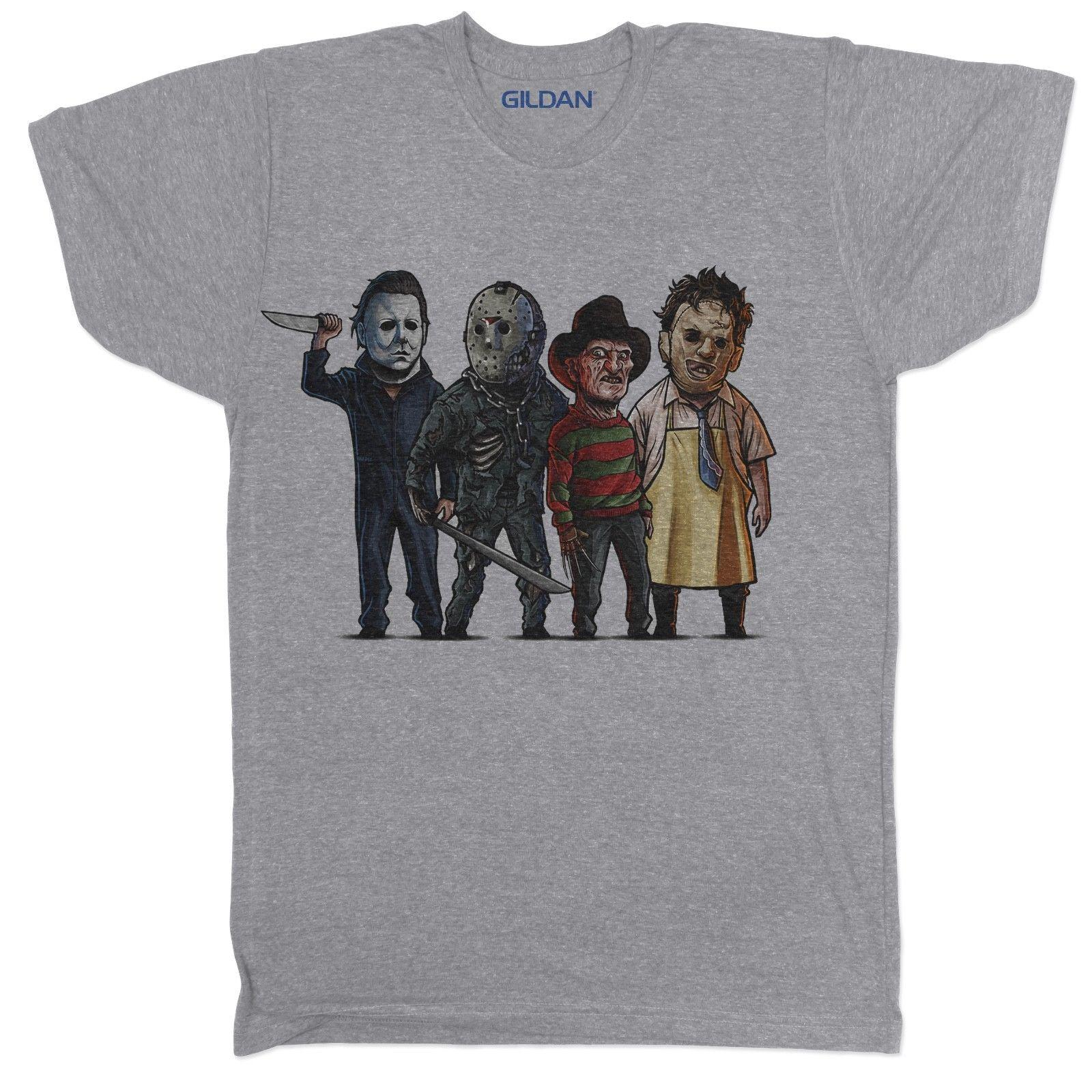 8237818c4a1e USUAL SUSPECTS HORROR MOVIE FILM LEATHERFACE HALLOWEEN MYERS CARTOON T  SHIRT Funny Unisex Tee Teet Shirts Tee Shirts For Sale From Tshirt press