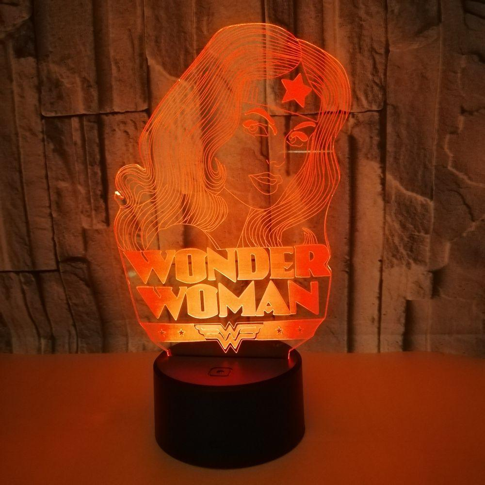 Wonder Woman Lamp 3d Visual Led Night Lights For Kids Touch Usb