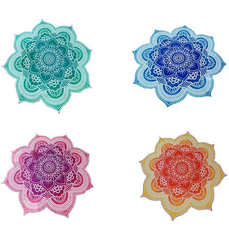 Beach Towel Mandala Tapestry Lotus Flower Shape Outdoor Roundie