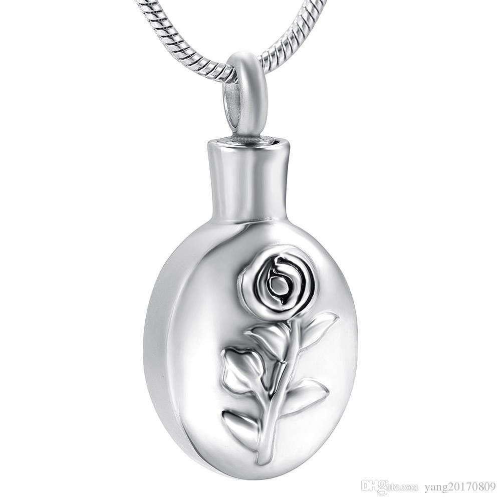 DJX8357 Charm Rose Engrave Pendant Hold Ashes Keepsake Urn Funeral Urns Memorial Cremation Urn Necklace for Pet/Human Ashes