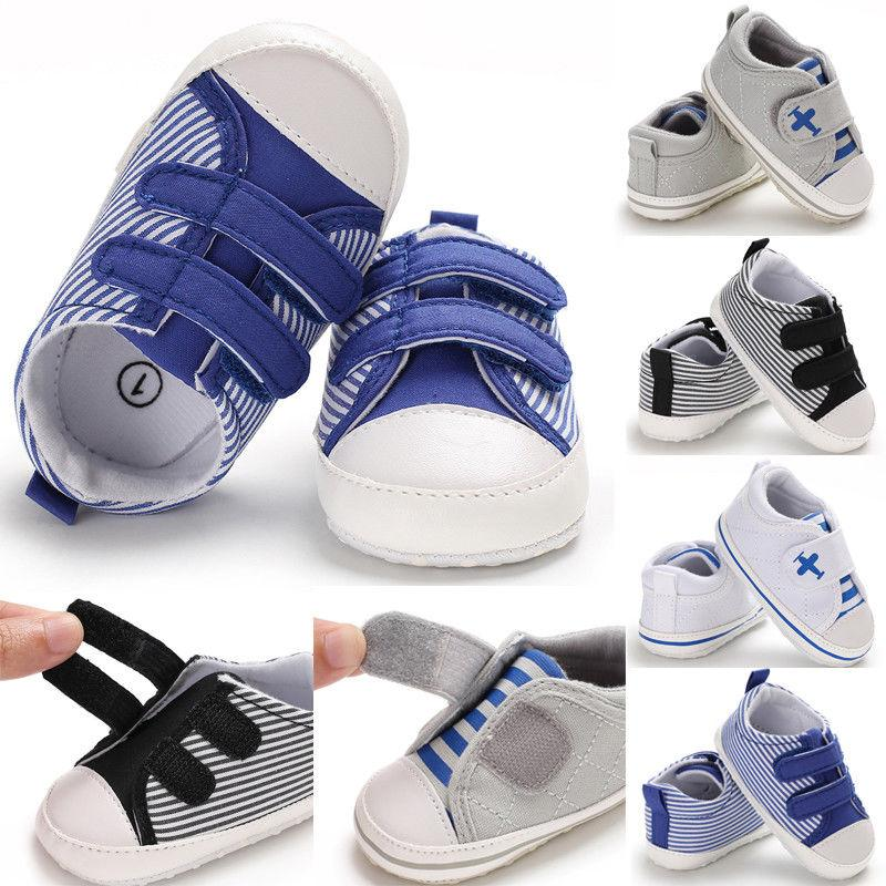 Fashion Baby Boy Girl Anti-slip Soft Sole Crib Casual Canvas Shoes Sneakers