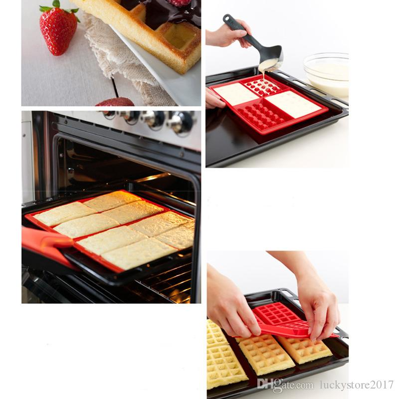 Baking Mould Waffle Silicon Mould DIY Biscuits Cookie Mold Non Stick Cake Bakeware Kitchen Baking Tools 4 Square