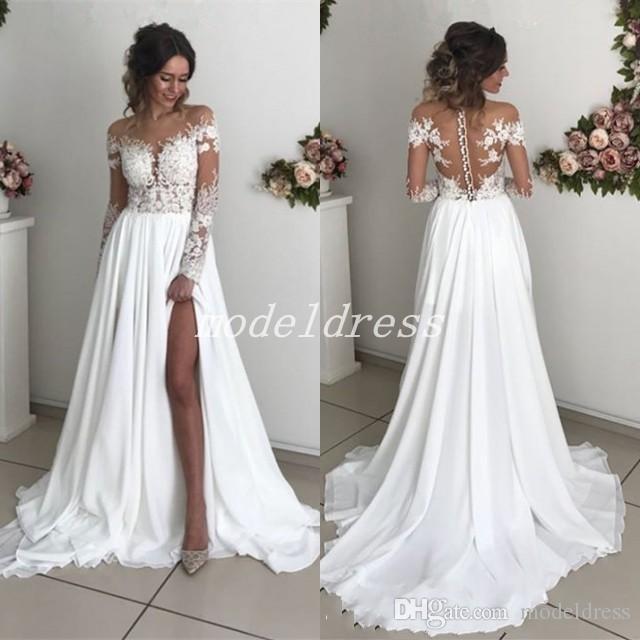 compre 2018 vestidos de novia con encanto ilusión blusa apliques de