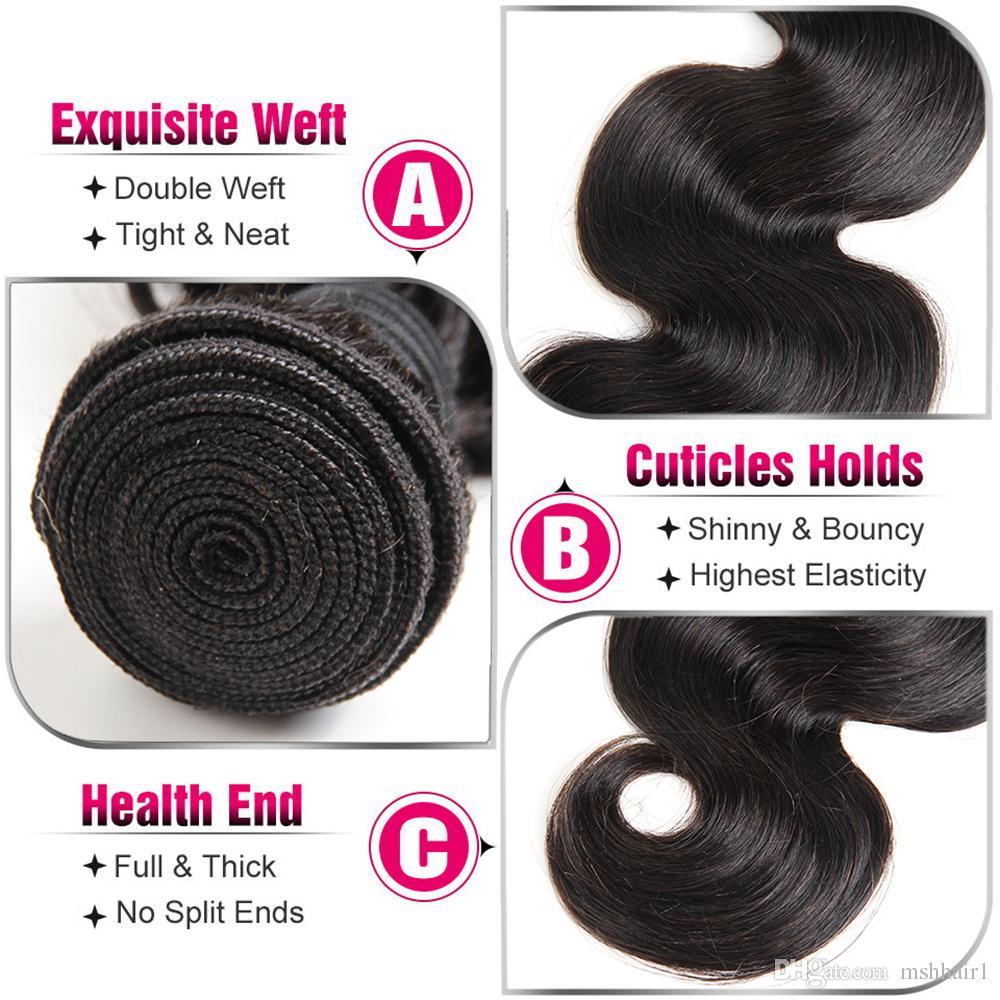 8A paquetes de extensiones de cabello humano de la Virgen de Malasia 3/Malaysian Body Wave Hair Weave Natural Color Negro
