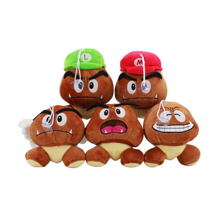 1b6f82ef78f 2019 13cm Super Mario Bros Plush Toy Soft Doll Goomba With Mario Luigi Hat  Doll Goomba Plush Stuffed Dolls 5 Design KKA5884 From Top toy
