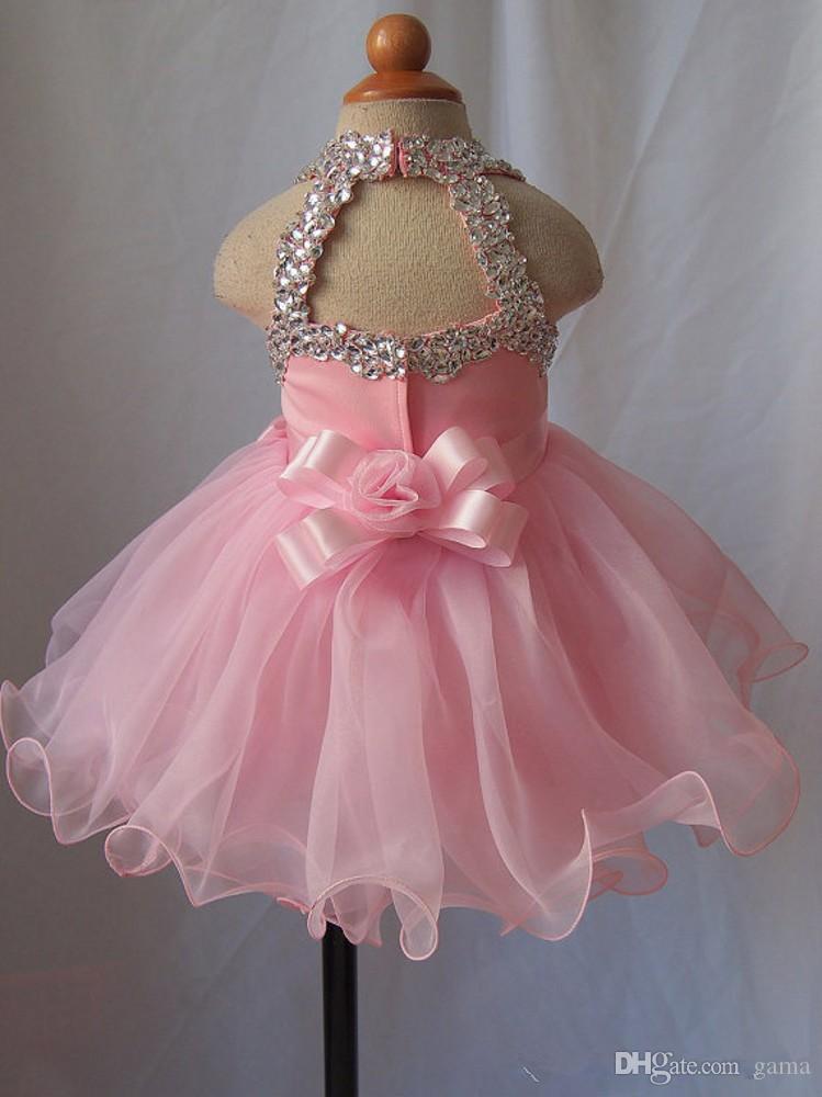 Halfter rosa Baby Mädchen Festzug Kleid knielangen kurze Blumenmädchen Kleid mit Strass Mädchen formelle Gelegenheit Geburtstag Party Kleid