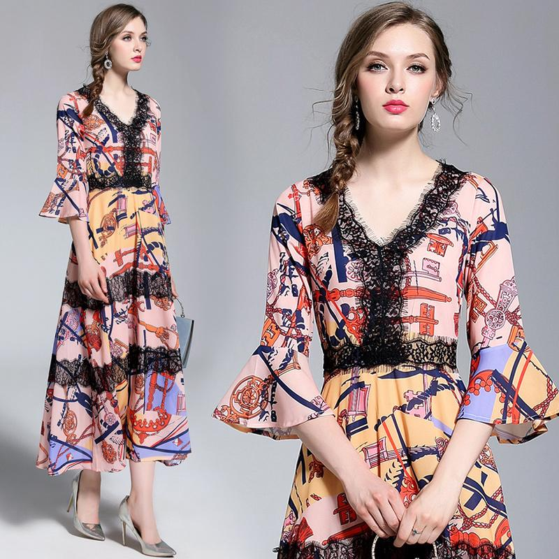2f6c813ae40 2019 Elegant Dresses For Women With Lace Trim Print V Neck High Waist Tie  Flutter Sleeve Lady Cocktail Evening Dinner Prom Party Dress Plus Size From  ...