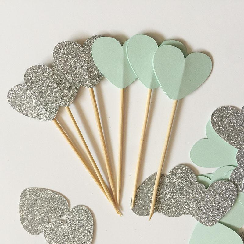 Glitter Silver/Mint double-sided Heart 1in Cupcake Toppers Wedding Food Picks Engagement Party Favors Cake Decoration Supplies