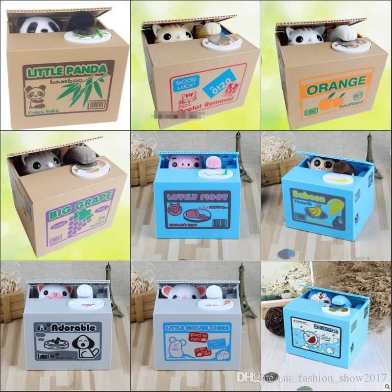 White Yellow Cat Panda Automatic Stealing Coin Cat Coins Penny Cents Piggy Bank Saving Box Money Box Kid Child Gift