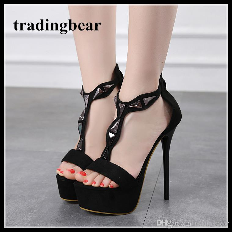 f96a3f92b0f 14cm Black Rivets T Strappy Platform High Heel Sandals Ladies Summer  Designer Shoes Size 34 To 40 Jesus Sandals Black Wedges From Tradingbear