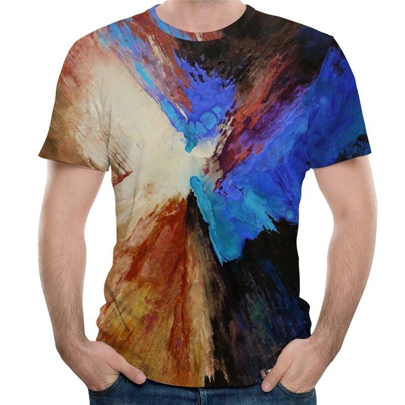 Frete Grátis por atacado Mulheres Homens Oli Pintura 3d Impressão Digital Moda Verão Top Hip Hop Tshirt