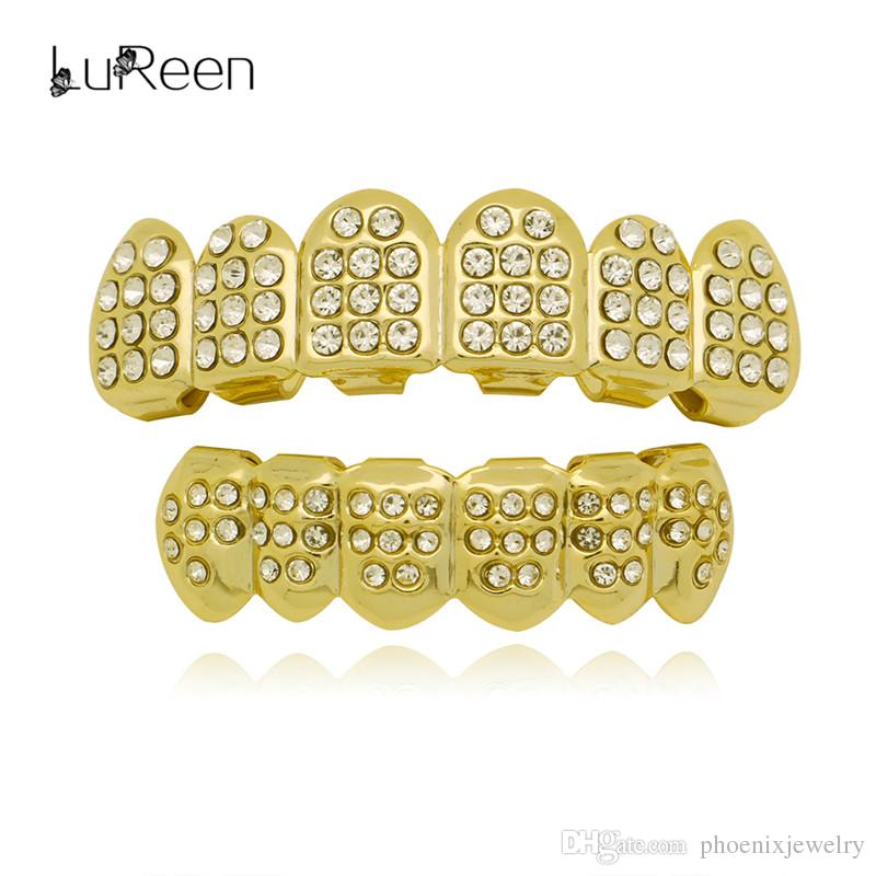 LuReen 14k Gold Silver Plated Teeth Grillz Iced Out CZ Paved 6 Top and Bottom Teeth Set Hip hop Teeth Jewelry