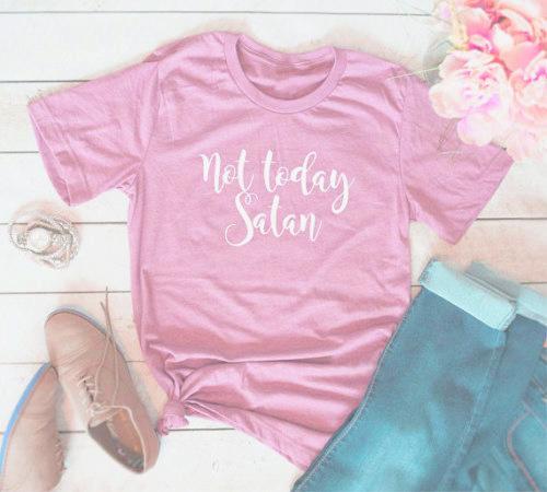 280cc325 Women's Tee Not Today Satan Tumblr T Shirt Girl Cute Clothing Tee Graphic  Casual Short Sleeve Top Aesthetic Gray Funny T Shirt Popular Shirt