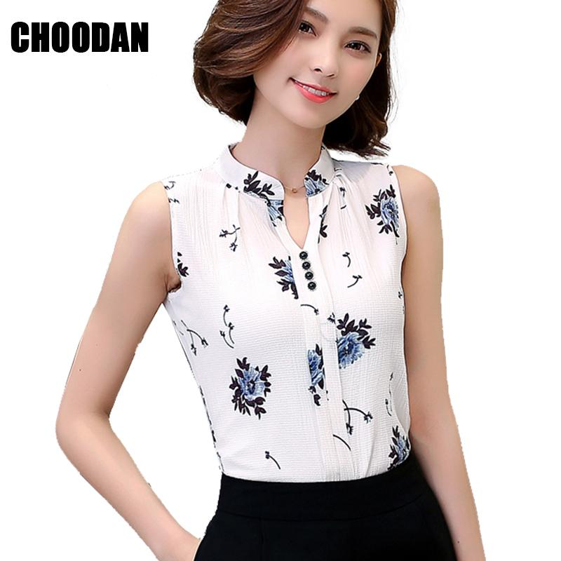 acbac2d3a8a 2019 Flower Blouses Shirts Female Chiffon Sleeveless Korean Fashion Clothing  Stand Collar Print Ladies Summer Tops For Women 2018 From Tuhua