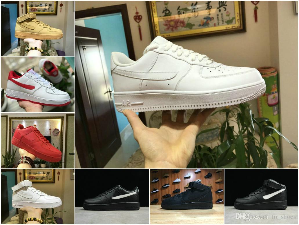 Compre Forças De Alta Qualidade Sapatos De Todos Os Homens De Preto Branco  De Alta Corte Baixo E Mulheres Tênis Esportivos Tênis De Corrida Forçando  Um ... 851393a49d79b