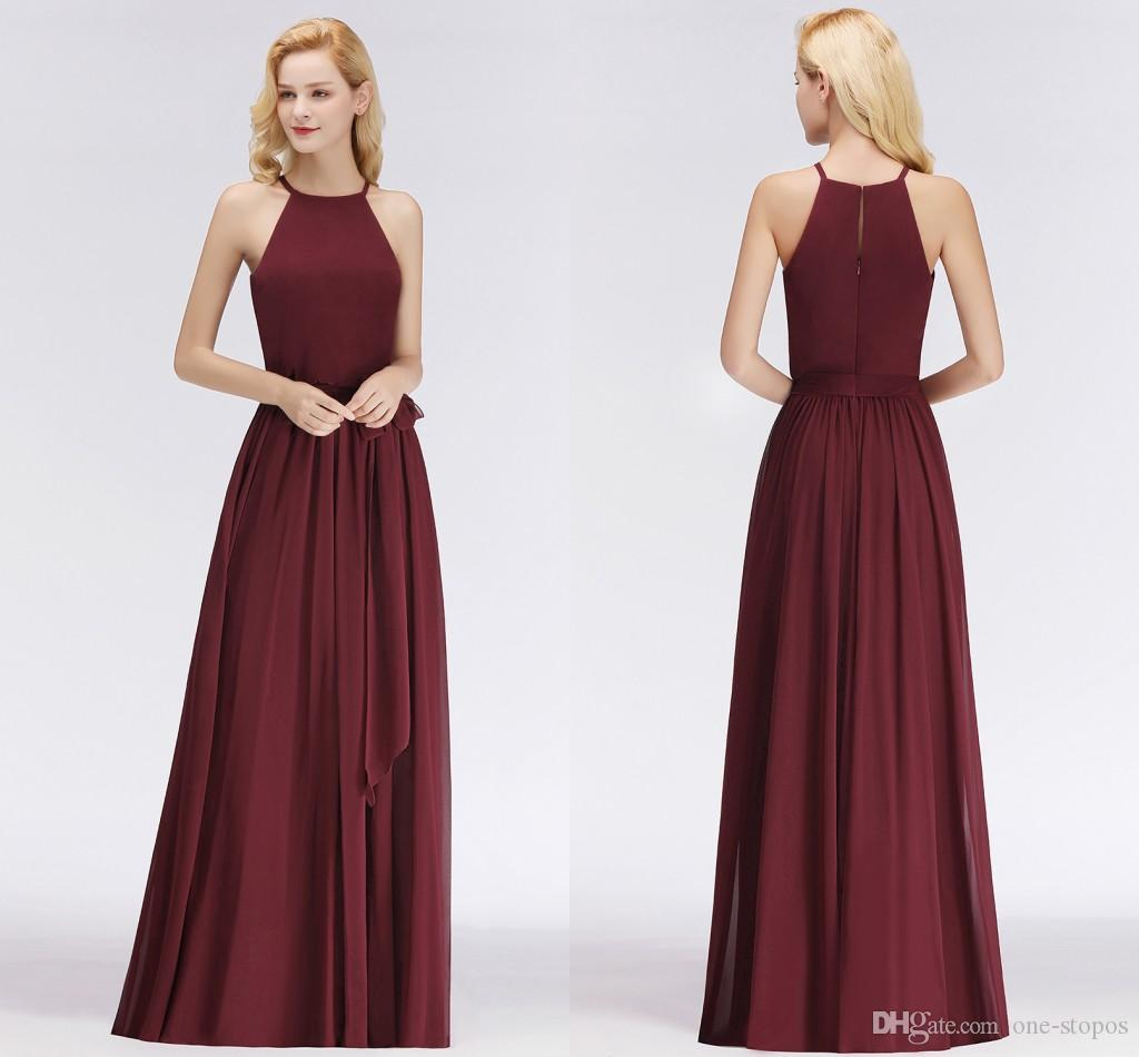 High Quality Burgundy Bridesmaid Dresses Country Style Sleeveless Chiffon Real Pictures Wedding Party Gowns Cheapest BM0035