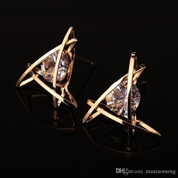 es / 6 sortes de style All-Match Earrings Alliage incrusté Boucles d'oreilles en cristal de zircon naturel Cadre ne se fanant pas Prévenir l'allergie Boucle d'oreille simple