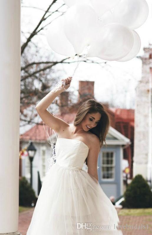 Vestido de boda de playa simple con una línea de Tulle sin tirantes sexy FAshion té longitud vestidos de novia envío gratis barato